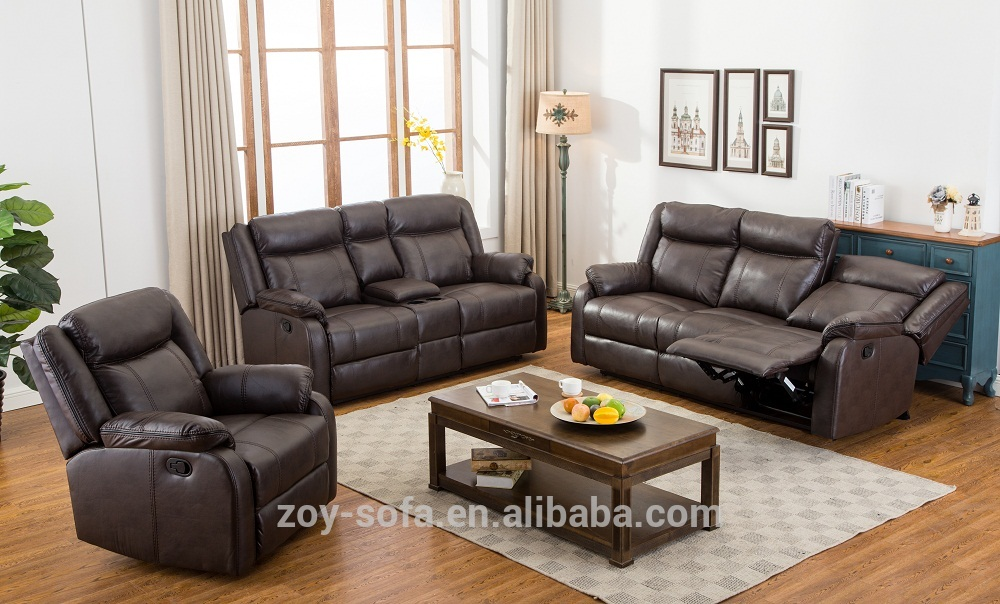 New style black living room leather sofa 1+2+3 seaters recliner sofa set ZOY 7018A