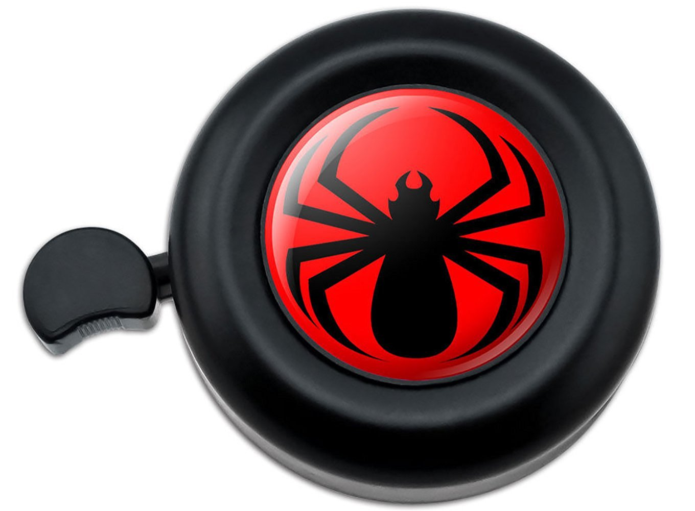 Cool and Custom {Fully Adjustable to Fit Most Bikes} Bicycle Handlebar Bell Made of Hard Metal with Edgy Dark Sharp Symmetrical Cool Intimidating Arachnid Spider Design {Black & Red Colors}