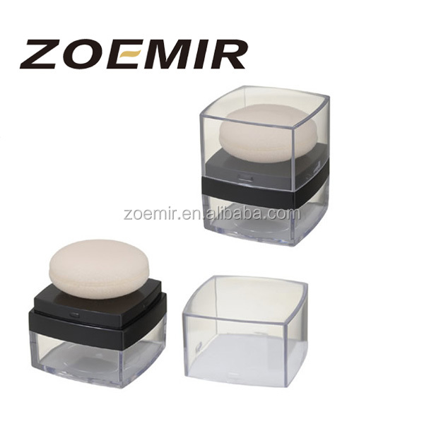 cosmetic packaging custom jar with puff loose powder case