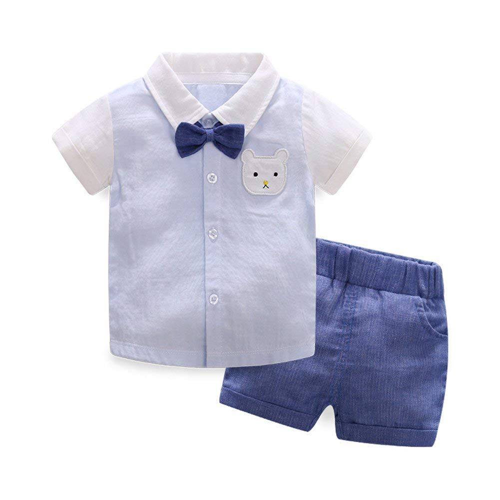 Get Quotations · AIKSSOO Toddler Baby Boys Gentleman Outfit Bear Shirt Tops  + Shorts Pant Clothing Set 539a91113
