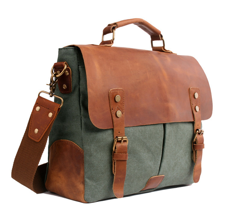 This Bag Very Expensive But Super Worth Men Messenger Bags Canvas High-grade Crazy Horse Leather Real Skin Bag Men's New Fashion