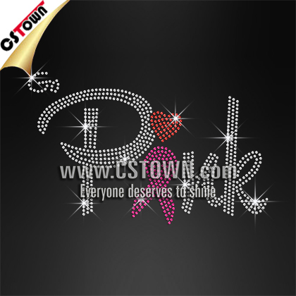 Pink Ribbon Heat Press Bling Hot Fix Rhinestones Designs Templates