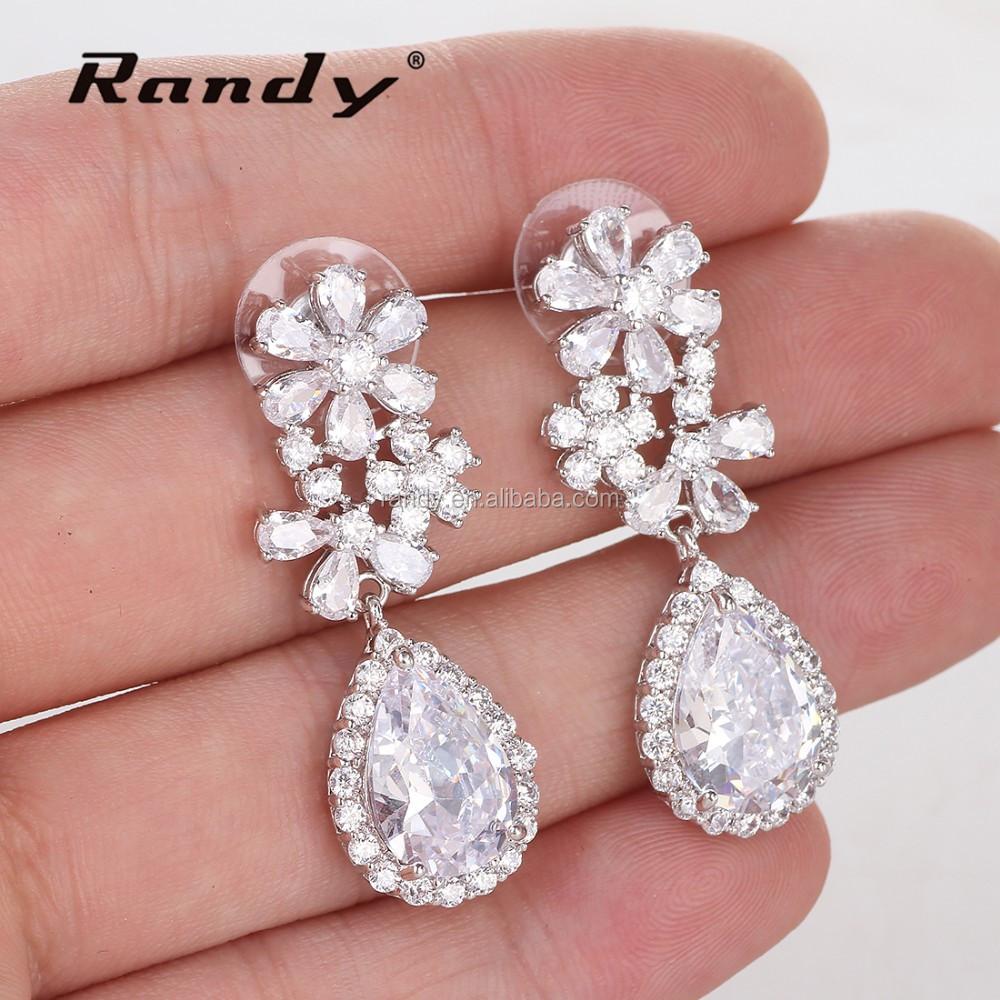 Wedding Jewelry Zircon Bridal Statement Drop Earrings - Buy Zircon ...
