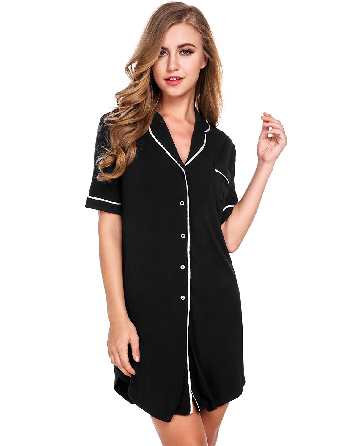 Get Quotations · Avidlove Womens Nightshirt Short Sleeves Pajama Top  Boyfriend Shirt Dress Nightie Sleepwear 126da0d3a