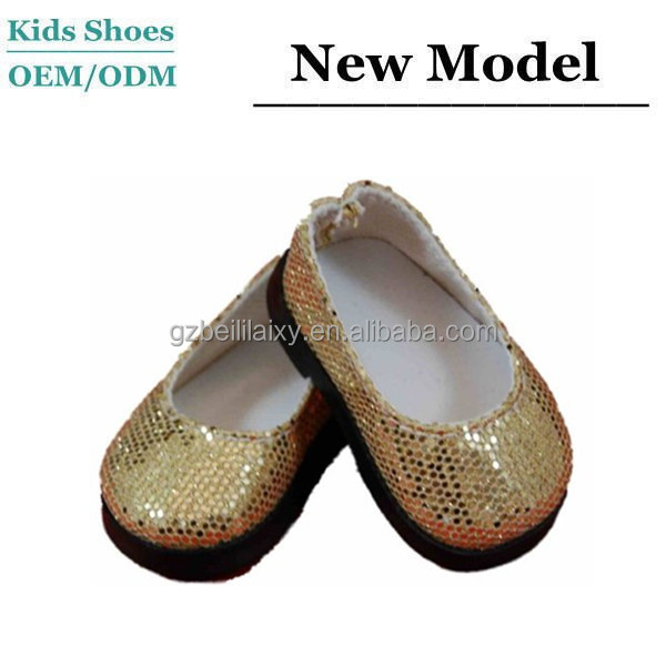 J D0023 Shiny Gold Color Baby Outdoor Shoes Hard Sole Girl Toddler