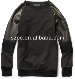 Quilted crew neck leather sweatshirt