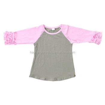 gray cotton body light pink sleeve wholesale baby icing ruffle t-shirts
