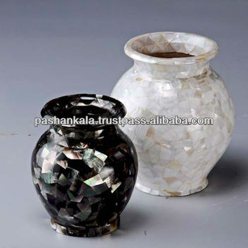 White And Black Lip Mother Of Pearl Shell Flower Vase Buy Mother