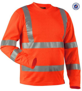 Custom good quality men long sleeve hi vis t-shirt