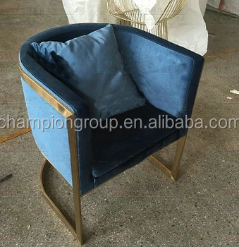 Navy Blue Velvet Club Chair With Brass Copper Frame MX 3800