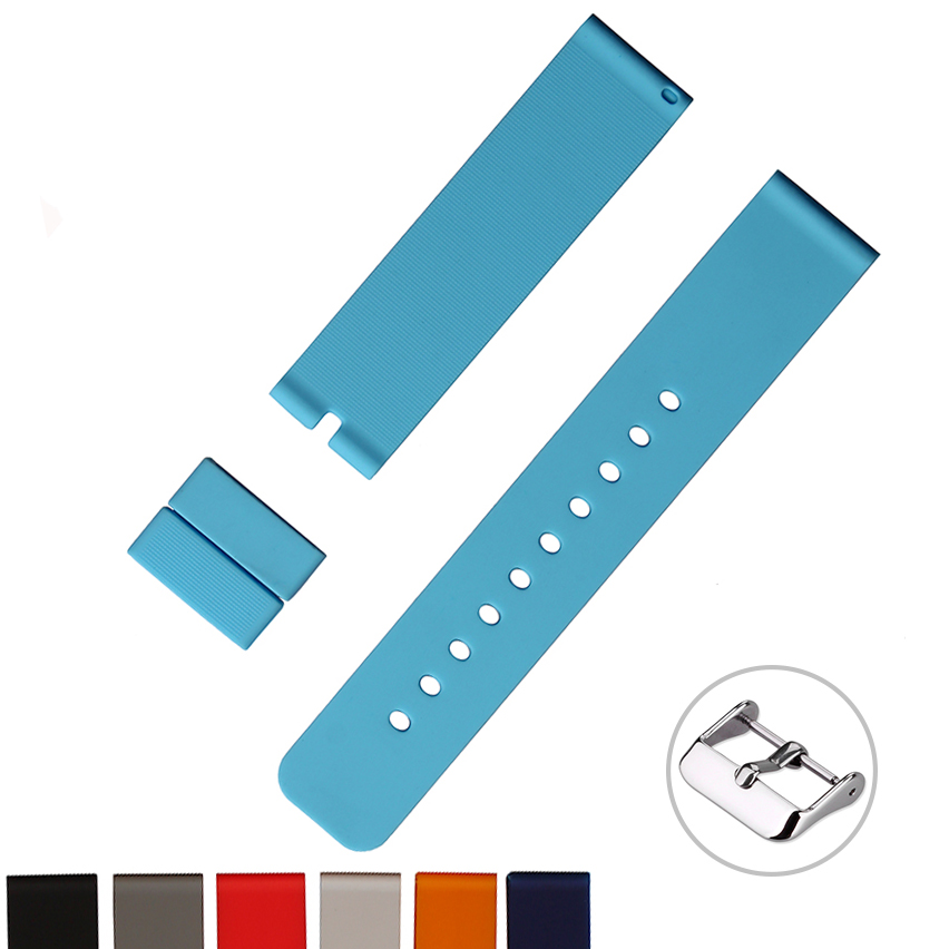 Custom 14 16 18 20 20 22 24mm quick release silicone rubber watch band strap for wristwatch