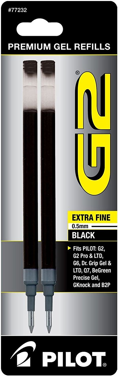 Pilot G2 Gel Ink Refill, 2-Pack for Rolling Ball Pens, Extra Fine Point, Black Ink (77232)