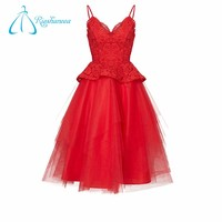High Quality A-Line Tiered Lace Red Prom Dresses Under 100