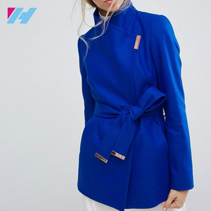High Quality Ladies Royal Blue Woolen Jackets Coats plus size women coat custom made high fashion wool women coat