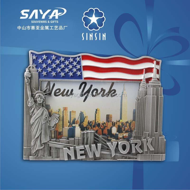 USA flag with new york tourist attractions souvenir photo frame