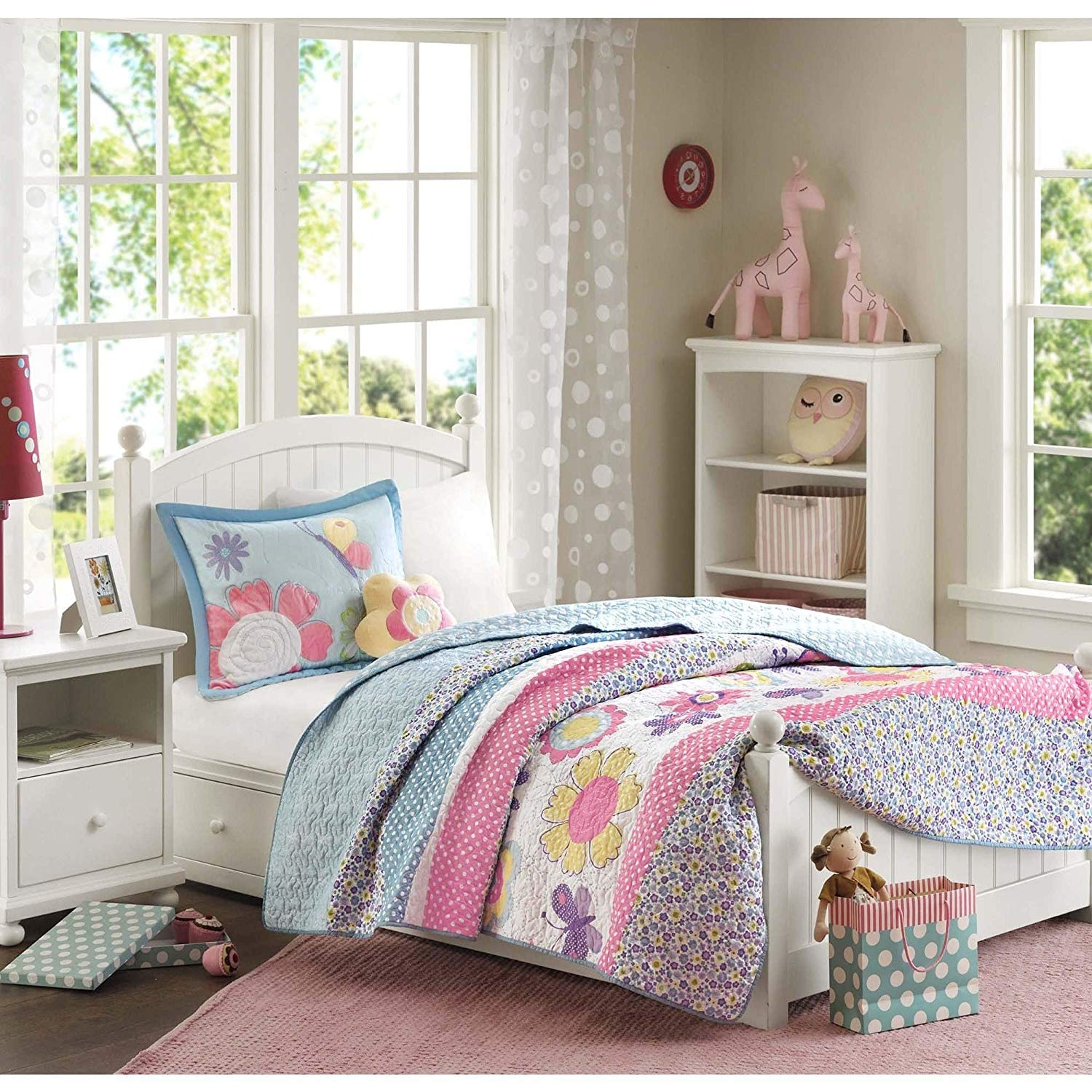AM 3 Piece Kids Girls Pink Purple Blue Yellow White Twin Coverlet Set, Floral Themed Bedding Flower Floral Beautiful Butterfly Nature Cute Adorable Stylish Sweet Pretty Elegant Cheery, Polyester