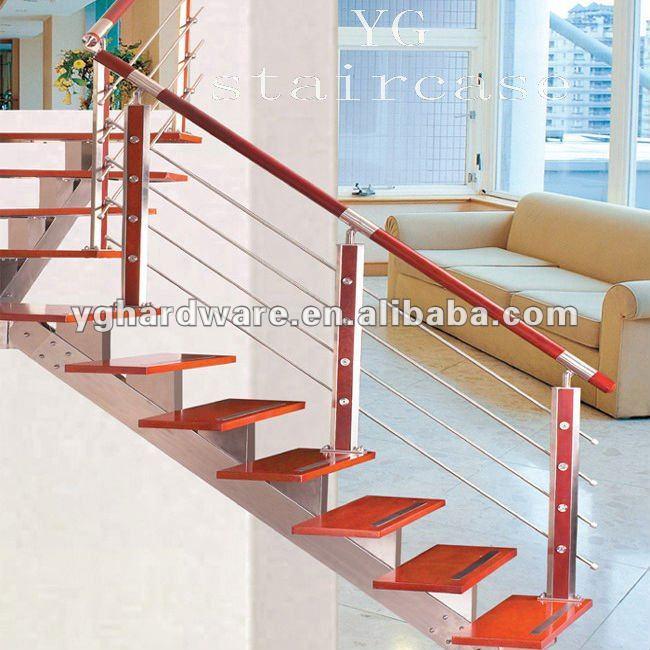escaleras de madera de vidrio de acero inoxidable