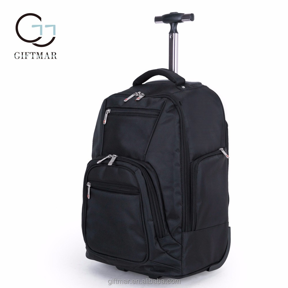 "19"" 21"" polyester black business travel backpack with trolley, wholesale polyester trolly bag for laptop"