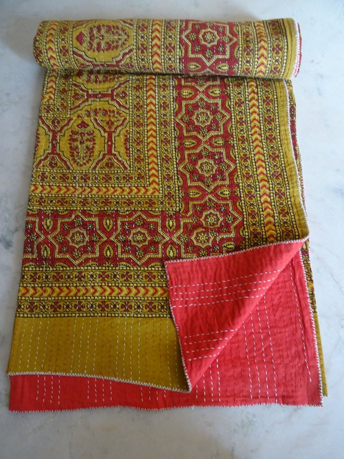 Tribal Asian Textiles Indian Throw Bedding, Applique Kantha Quilt, Cotton Indian Sari Quilted, Reversible Bedcover, Hand Stitches Ajrakh Block Print Quilt, Indian Throw Boho Bedding Gudri Ralli