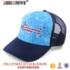 Popular design funny embroidery curve brim snapback hat/blue mesh baseball cap