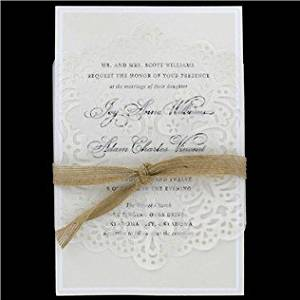 Cheap lace wedding invitations find lace wedding invitations deals get quotations burlap ribbon lace vellum wedding invitations filmwisefo