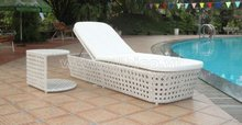 2012 New Style Wicker Sun Lounger with Side Table/ Day Bed Aluminium Frame