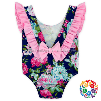 2f097e93ece Navy Blue Pink Ruffle Cap Sleeves Baby Girl Dancing Leotards Back Bow baby  ruffle rompers wholesale