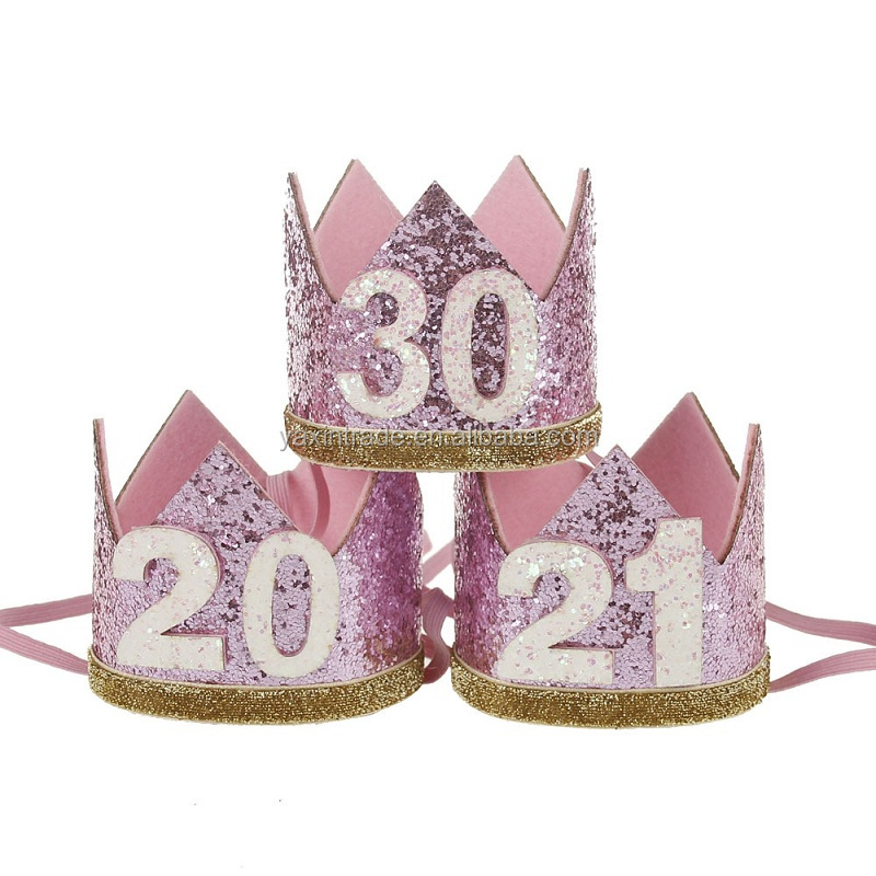 Amazon Fashion 21st Birthday Hat Girl Gold White Pink Princess Crown No20 30 Party Hats Glitter Queen Headband