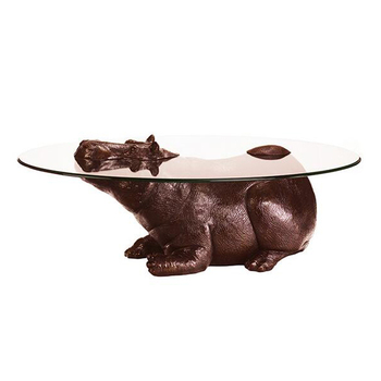 Art Decoration Animal Sculpture Bronze Hippo Coffee Table Base - Hippo coffee table