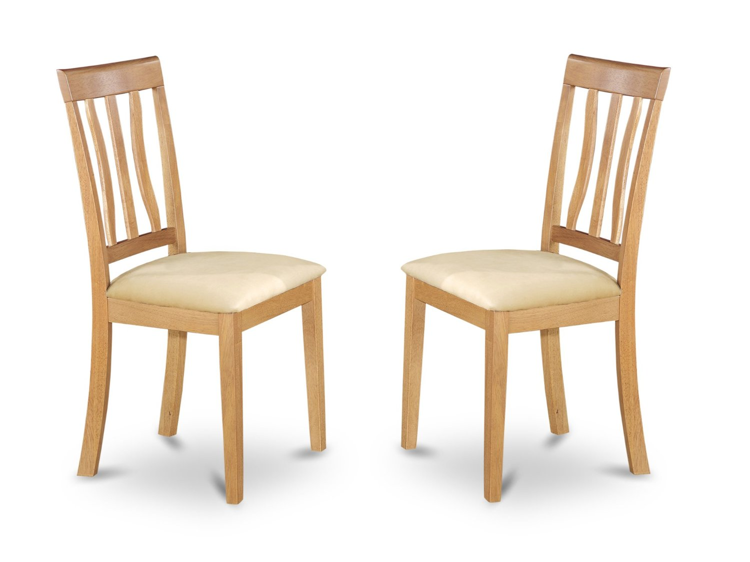 East West Furniture ANC-OAK-C Dining Chair Set with Cushion Seat, Oak Finish, Set of 2