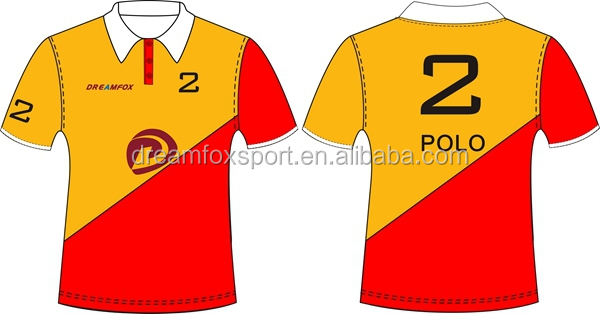red and yellow polo shirt