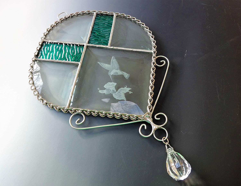 Beveled Stained Glass Hummingbird Sun Catcher