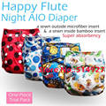 one piece pack Happy Flute onesize baby cloth diaper Night AIO hook loop and snap version