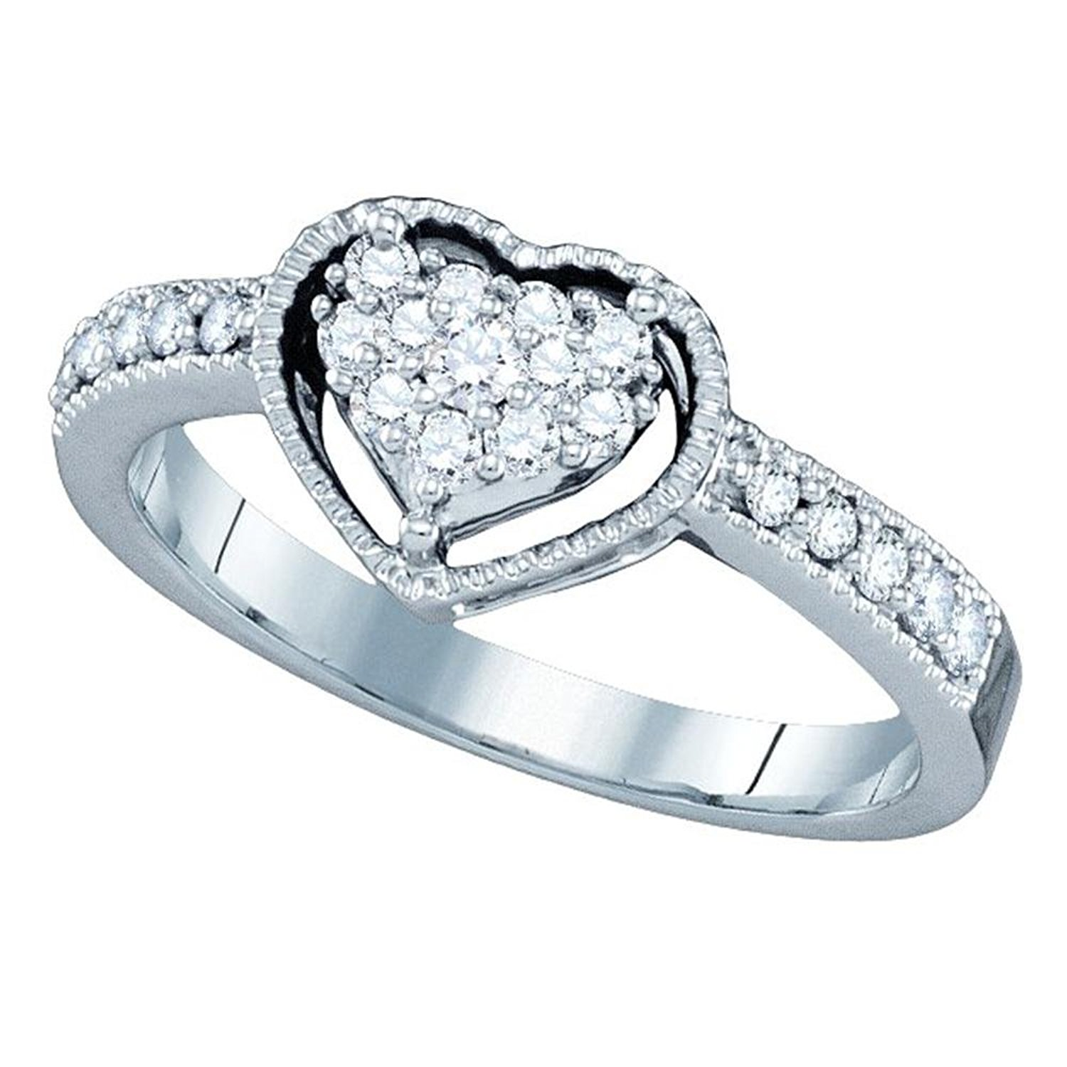 Halo Heart Diamond Promise Ring Solid 14k White Gold Bridal Love Band Round Side Stones Fancy 1/3 ctw
