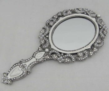 Metal Antique Oval Mirror Hand