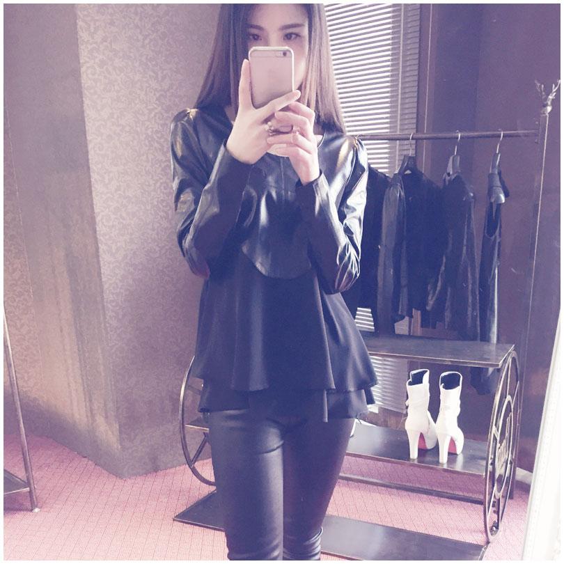 Женщины из натуральной кожи куртки и пальто мода кожа + шифон лоскутное / тонкий / короткие / черный / овчины LW9029