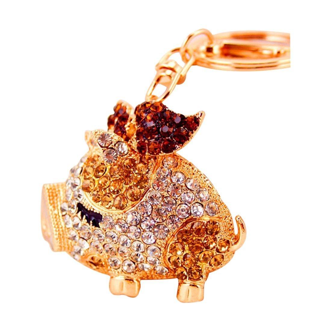 SODIAL(R) Fashion Novelty Gifts Trinket Rhinestone Cute Bow Pig Keychain, Women Bag Pendant Keyring (champagne)
