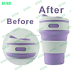 2017 portable travel silicone coffee mug heat-resistant silicone sleeve lid folding cup