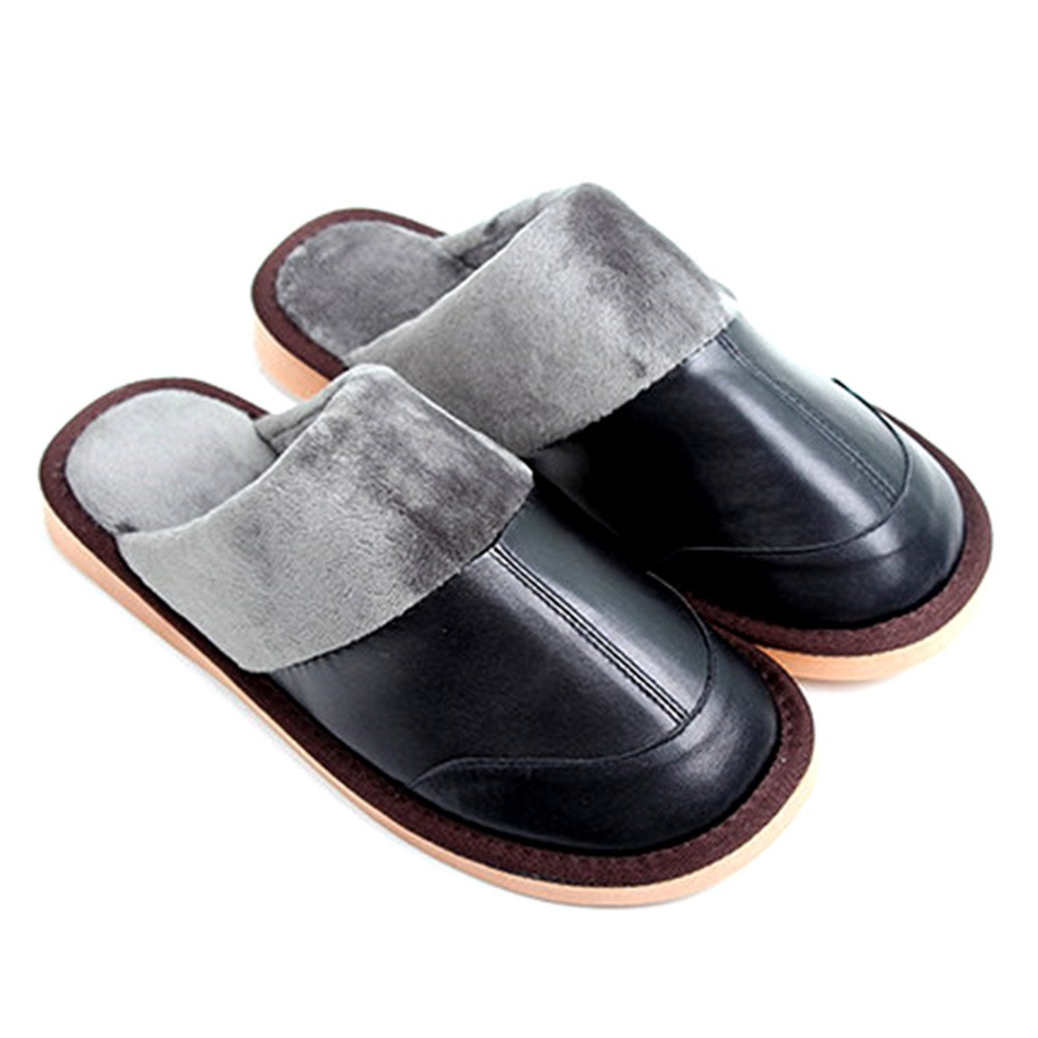 b8fe0a3353d Get Quotations · Buzede Home Cotton Leather Slippers Women Men Winter Warm  Thick Sole Floor Couple Slippers Indoor Non