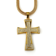 Hommes 18 K Plaqué Or Croix Collier Dubai Or <span class=keywords><strong>Bijoux</strong></span> Conceptions