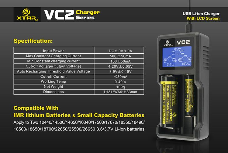 Dual Bays Smart Digital USB XTAR VC2 Li ion Battery charger with LCD screen