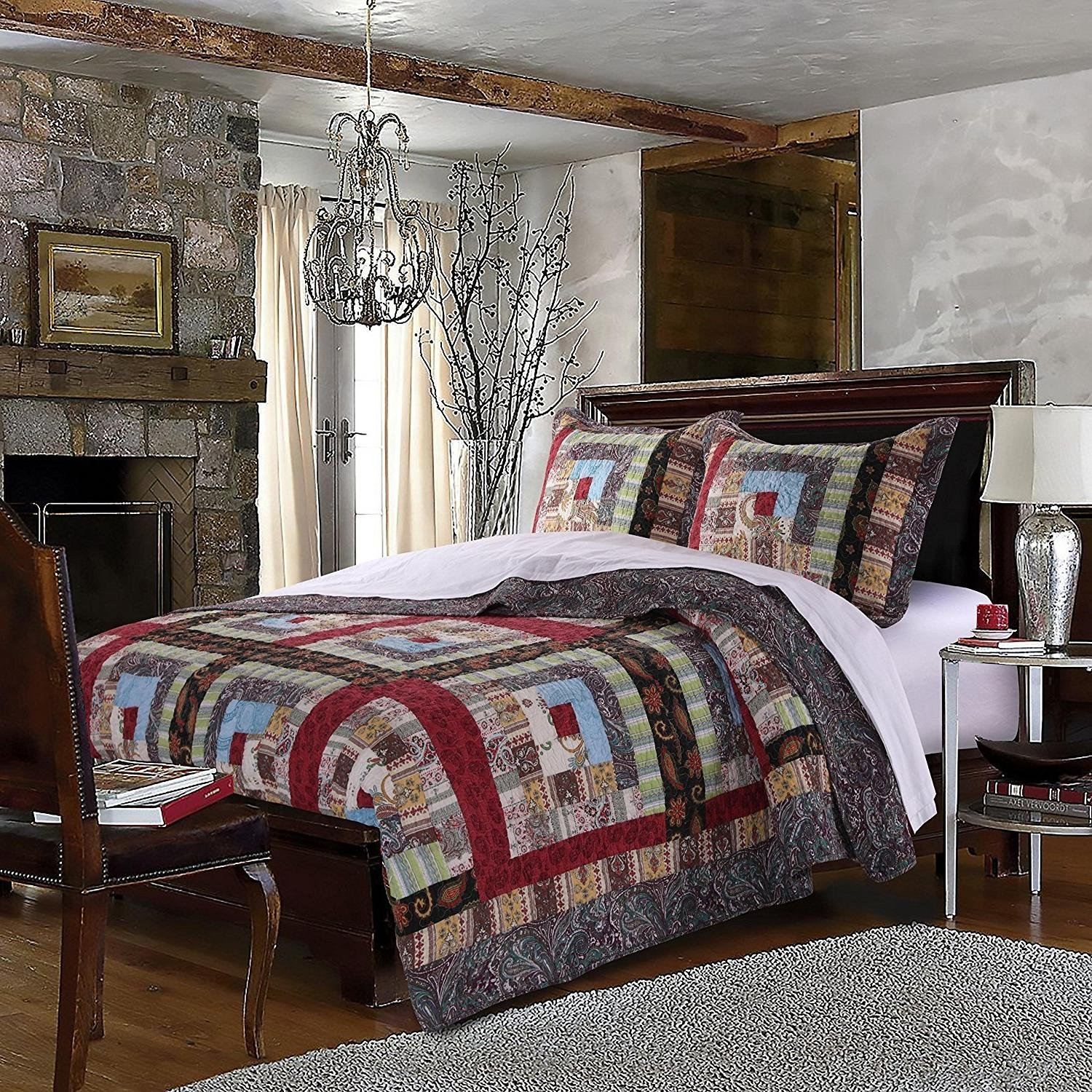 MISC 3pc Brown Patchwork Full Queen Size Quilt Set, Log Cabin Cottage, Red Blue Rustic Square Medallion Bedding, Cotton, Cotton, Floral Flowers Boho Chic Patch Work