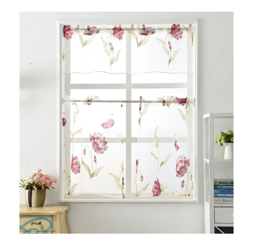 Napearl red sheer curtain fabric kitchen short organza curtains sell in set
