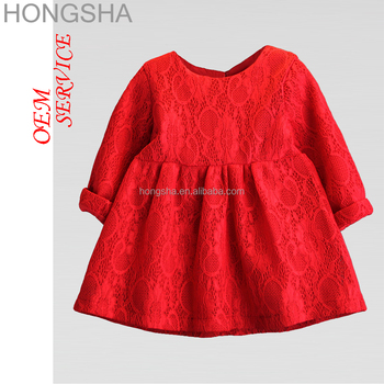 Children Frocks Designs Red Lace Baby Girl Winter Party Dresses HSD1498