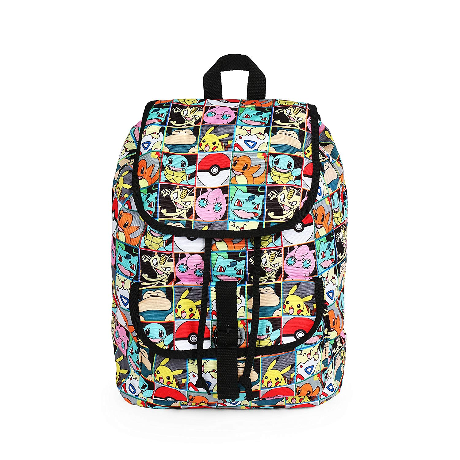 cca1a5238793 Get Quotations · Pokemon All Over Print Pikachu and Characters Checkered Rucksack  Backpack School Bag
