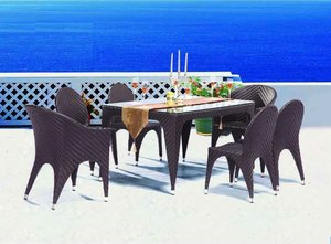 Outdoor Garden Poly Rattan 6 person Dining Patio Rattan Furniture