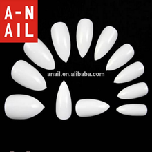 Top Selling 600Pcs 10 Sizes Natural White/Transparent Color Full Cover Artificial Sharp Nail Art Tips Pointy Fake False