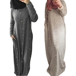 Dubai wholesale clothing OEM islamic clothes burqa fashion burqa designs grey pearls abaya