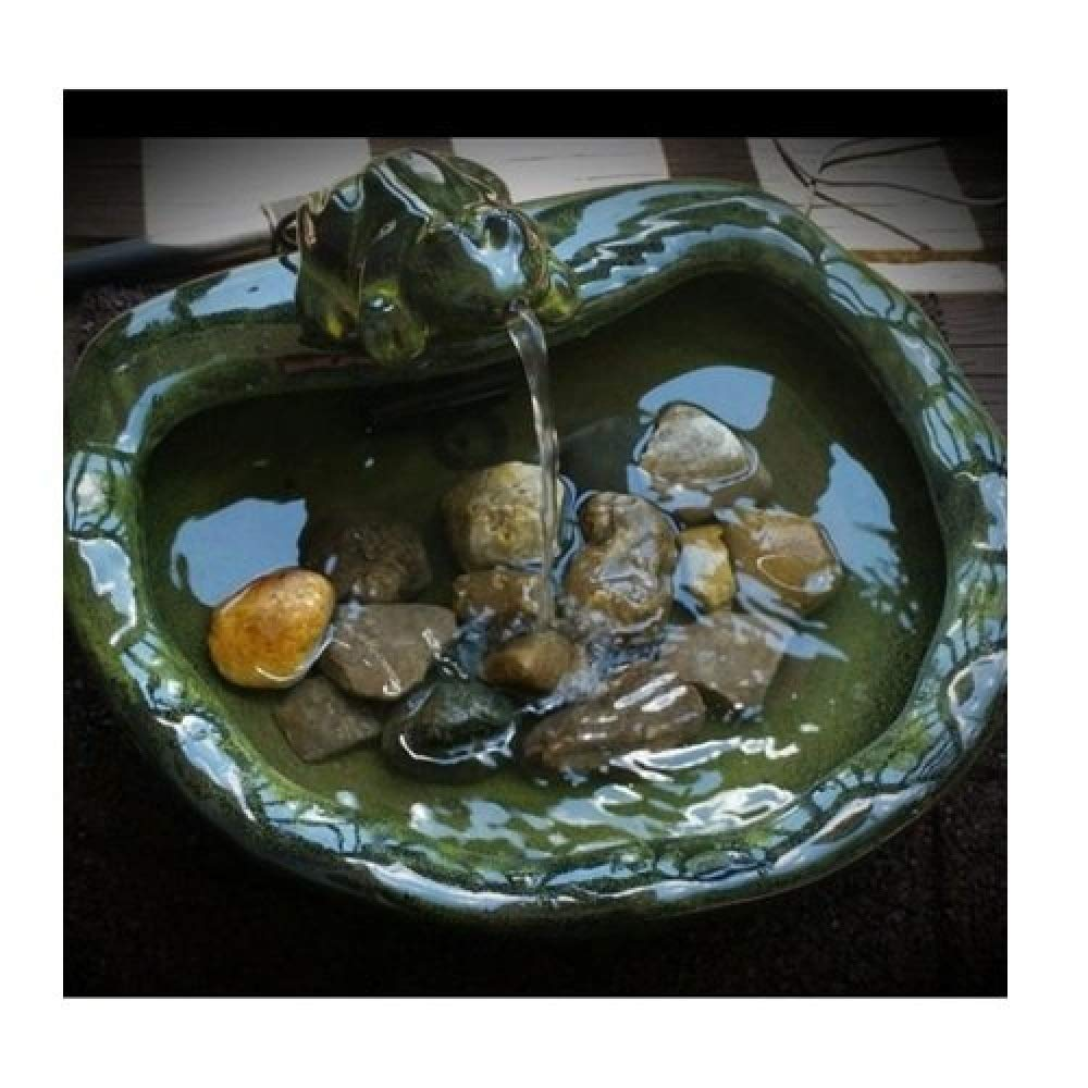 Svitlife Green Glazed Ceramic Fountain Bird Bath with Frog and Solar Pump Frog Fountain Glass Metal Bird Bath Solar Outdoor Green Decor