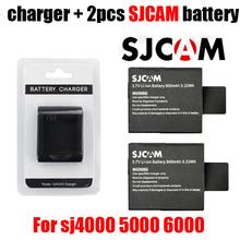 NEW  Original SJCAM SJ6000 SJ7000 camera battery 2 + 1pcs charger for DV SJ4000 SJ 4000 5000 6000 7000 HD 1080P Sports camera